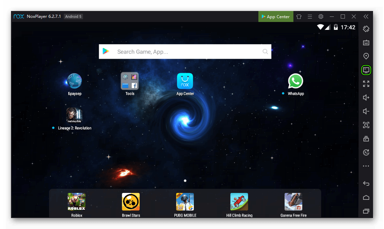 Иконка Мой компьютер в правом блоке инструментов Nox App Player