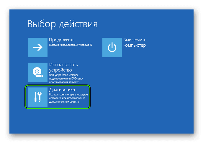 Пункт Диагностика в расширенном меню перезагрузки Windows