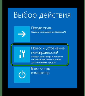 Пункт Поиск и устранение неисправностей в расширенном меню перезагрузки Windows